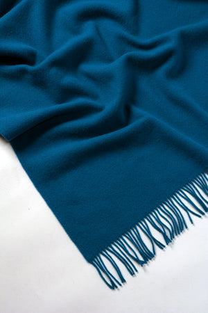 Nevis Lambswool Throw Blanket - Petrel Blue