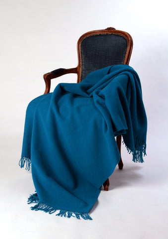 Image of Nevis pure wool blanket petrel blue
