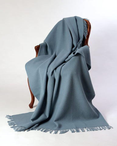 Nevis pure wool blanket powder blue cloud