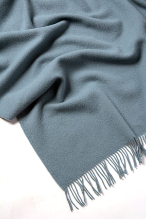 Nevis Lambswool Throw Blanket - Powder Blue