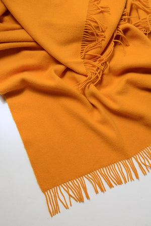 Nevis Lambswool Throw Blanket - Saffron Yellow
