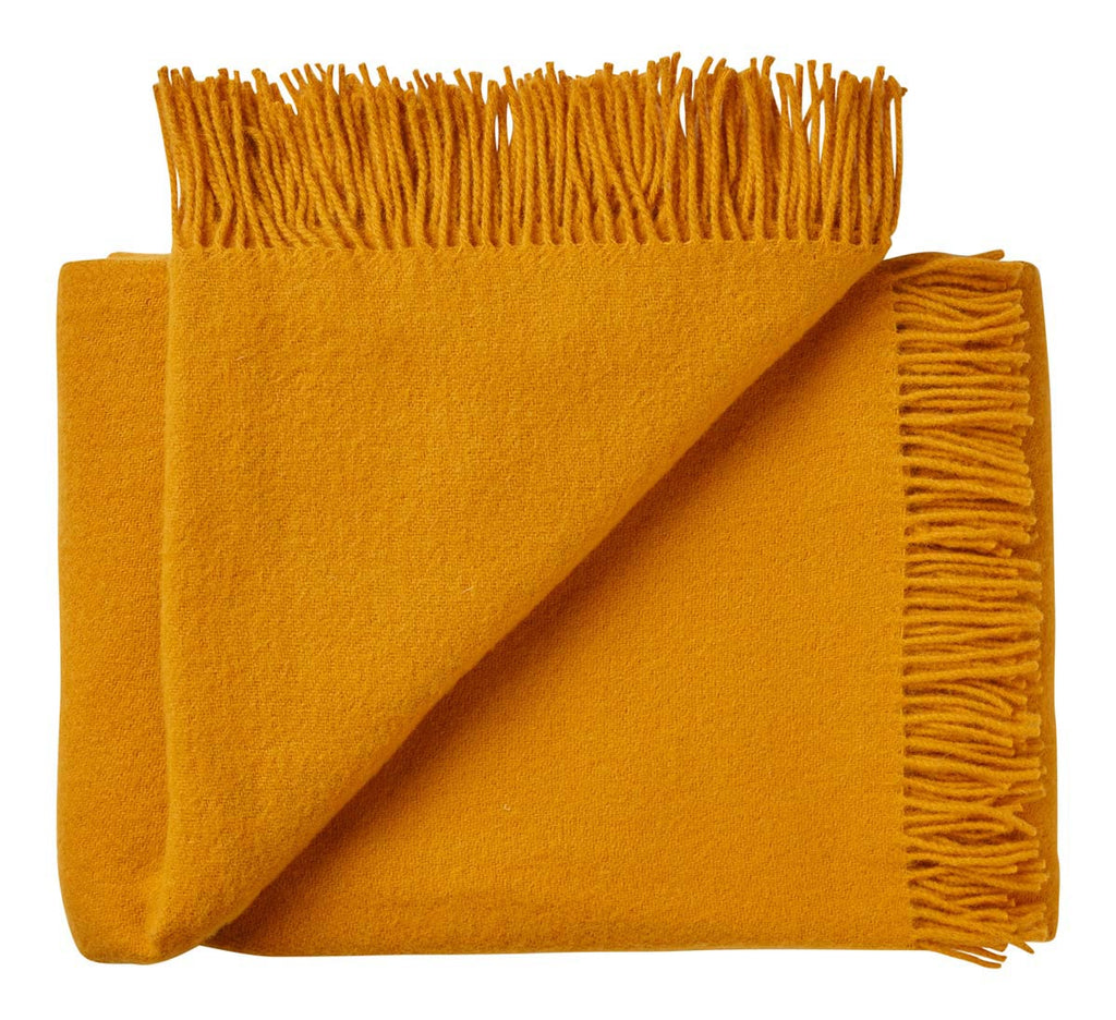 Nevis pure wool blanket saffron yellow
