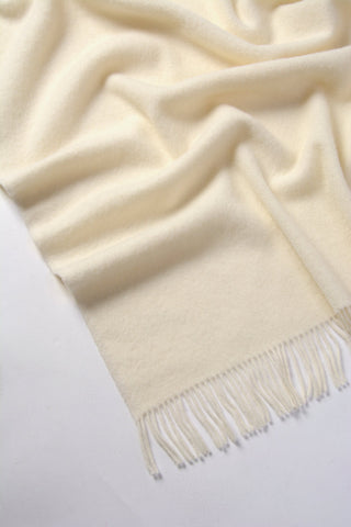 Nevis pure wool blanket vanilla warm off-white