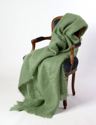 Image of Mohair throw NZ  - Windermere Olive Green Mohair Chair Throw