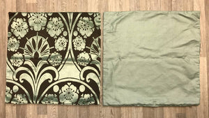 Fabric Cushion Covers Set 50cm x 50cm - Sage & Choc