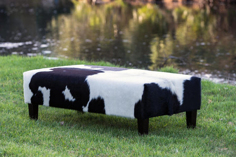 Cowhide Ottoman with Wood Legs 120x60x40cm