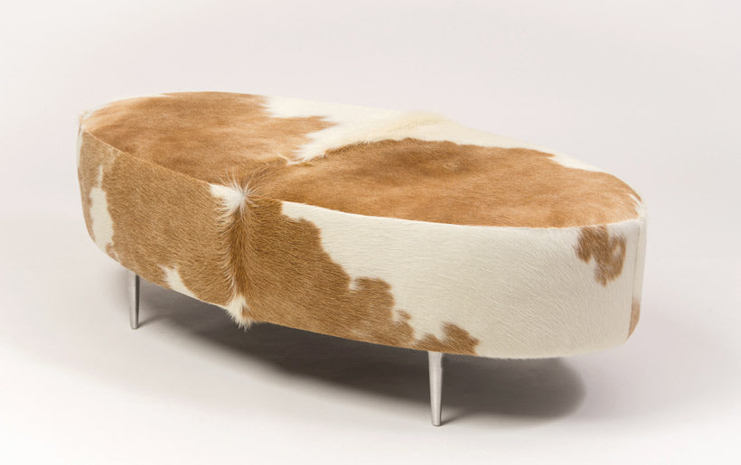 Cowhide Ottoman Oval Beige & White with Metal Legs 120x60x38cm