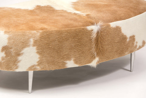 Image of Cowhide Ottoman Oval Beige & White with Metal Legs 120x60x38cm