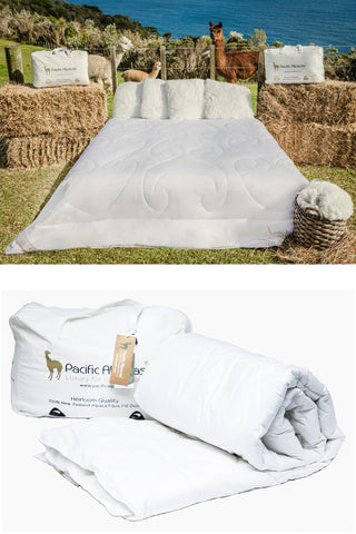 Image of Alpaca Duvet NZ - Pacific Alpacas All Seasons pure alpaca duvet inner NZ made