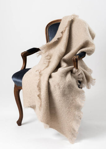 Windermere Paper Beige Mohair Throw Blanket