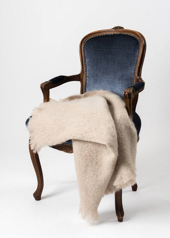 Image of Windermere Paper Beige Mohair Chair Throw