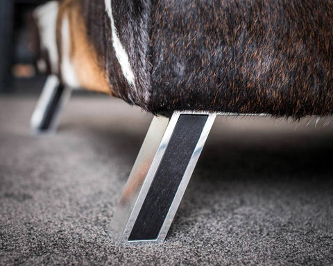 Image of Cowhide Ottoman with Aluminium & Wood Legs 150x90x35cm