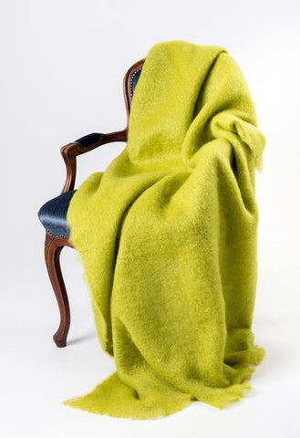 Windermere Pesto Green Mohair Throw Blanket