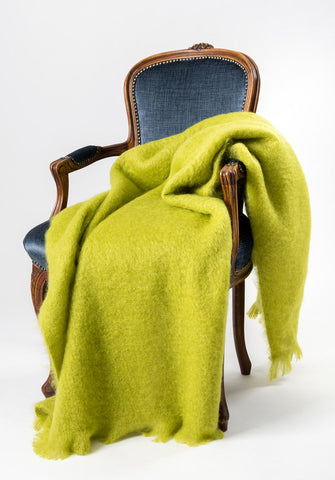Image of Mohair Throw NZ Windermere Pesto Green