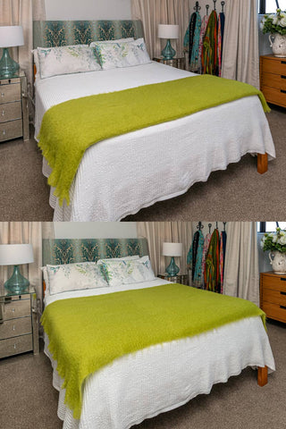 Image of Windermere Pesto Green Mohair Throw Blanket