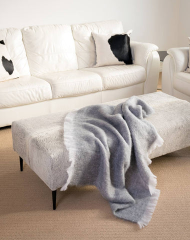 Pewter Grey Mohair Chair Throw