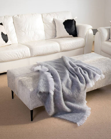 Pewter Grey Mohair Throw Blanket