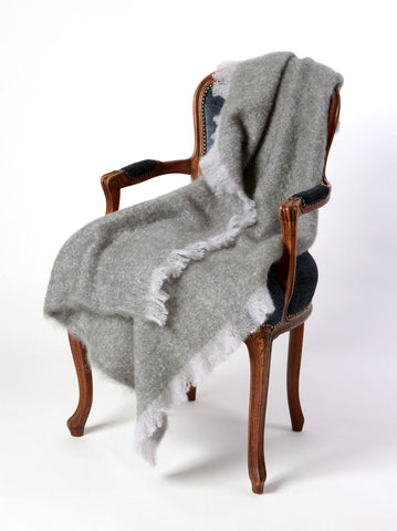 Windermere Pewter Grey Mohair Chair Throw