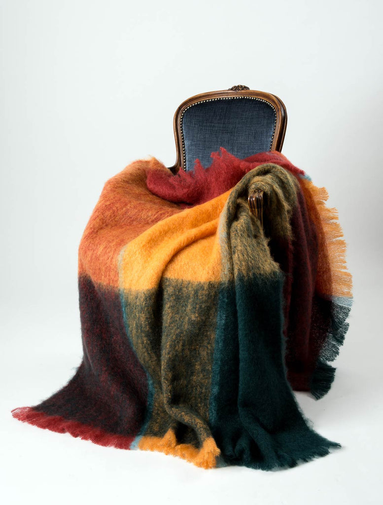 Windermere Picasso Red Orange Green Check Mohair Blanket