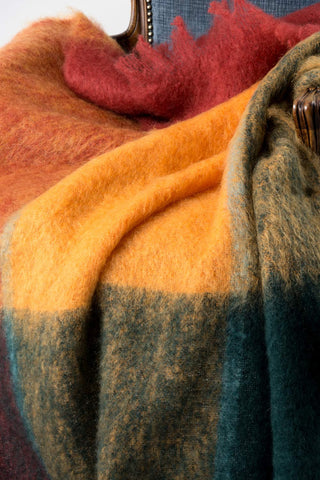 Picasso Red Orange Green Check Mohair Blanket