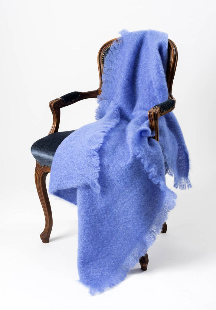Provence Blue Mohair Throw Blanket