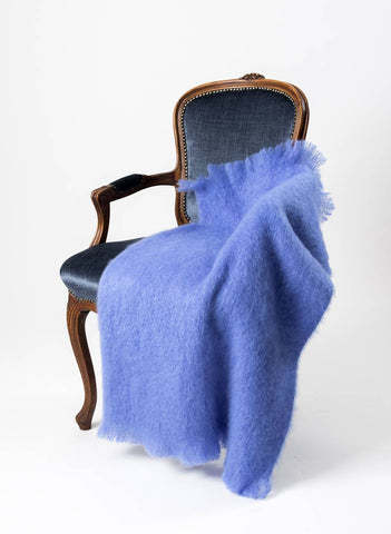 Image of Windermere Provence Blue Mohair Chair Throw