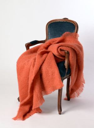 Windermere Pumpkin Orange Mohair Chair Throw