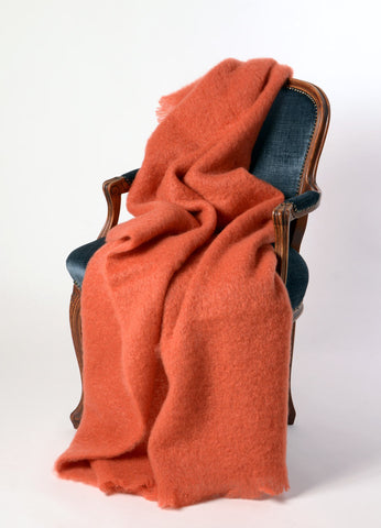 Image of Windermere Pumpkin Orange Mohair Throw Blanket