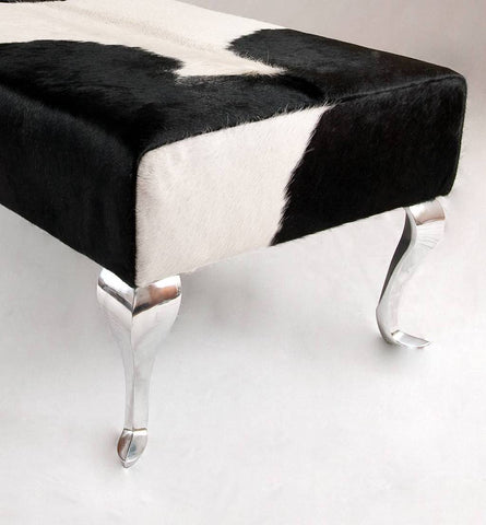 Image of Cowhide Ottoman New Zealand metal legs