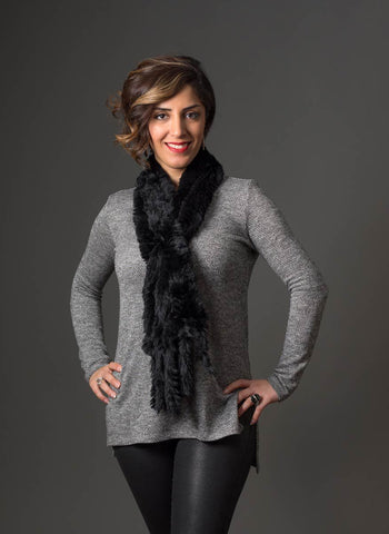 Image of Rabbit Fur Pull Through Scarf - Jet Black