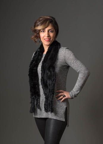 Rabbit Fur Pull Through Scarf - Jet Black