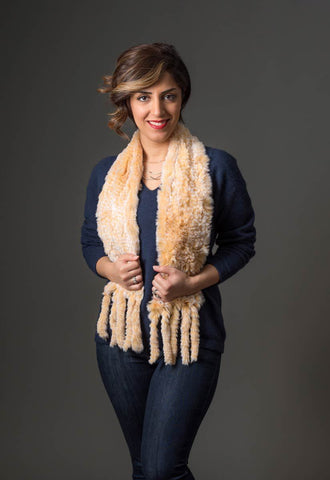 Rabbit Fur Pull Through Scarf - Honey Caramel