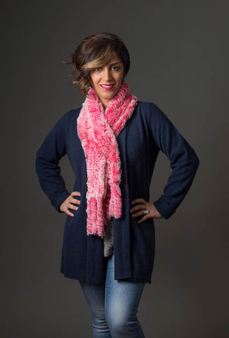 Rabbit Fur Pull Through Scarf - Pink Ice