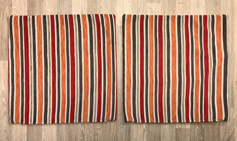Fabric Cushion Covers Set 39cm x 39cm - Red Orange Stripe