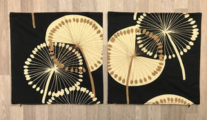 Fabric Cushion Covers Set 40cm x 40cm - Black & Cream