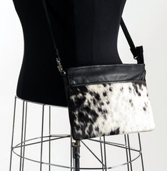 Rosie Essentials Cross-Body Cowhide Handbag - Black & White #1