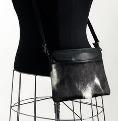 Rosie Essentials Cross-Body Cowhide Handbag - Black & White #11