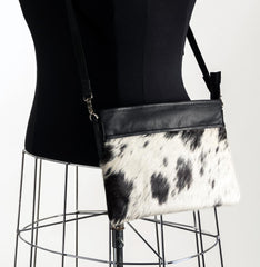 Rosie Essentials Cross-Body Cowhide Handbag - Black & White #2