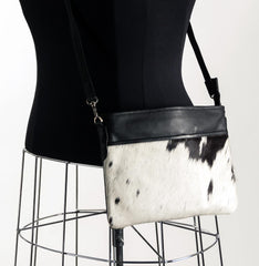 Rosie Essentials Cross-Body Cowhide Handbag - Black & White #3