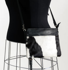 Rosie Essentials Cross-Body Cowhide Handbag - Black & White #4