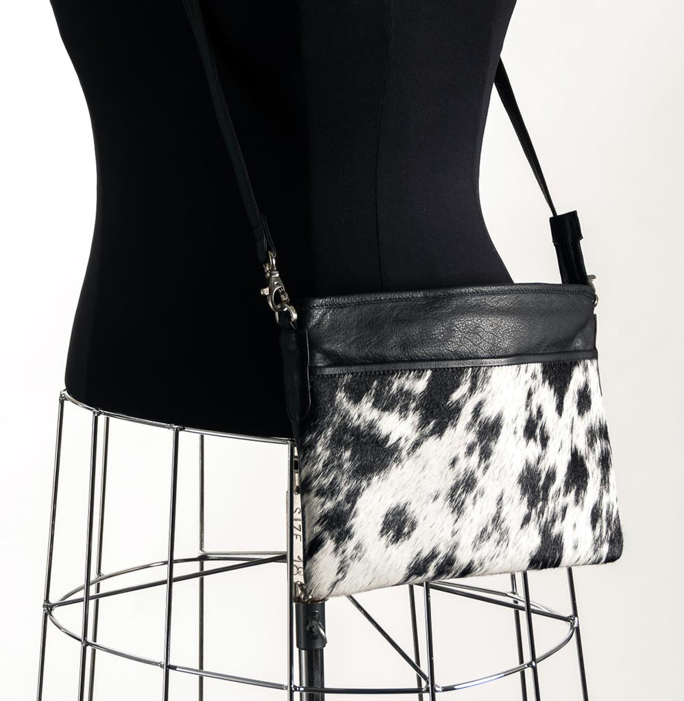 Rosie Essentials Cross-Body Cowhide Handbag - Black & White #5