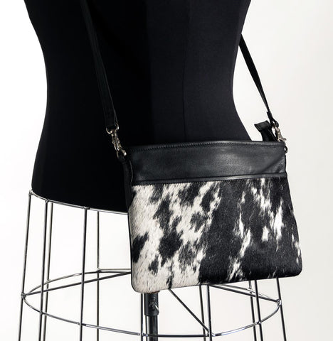 Rosie Essentials Cross-Body Cowhide Handbag - Black & White #6