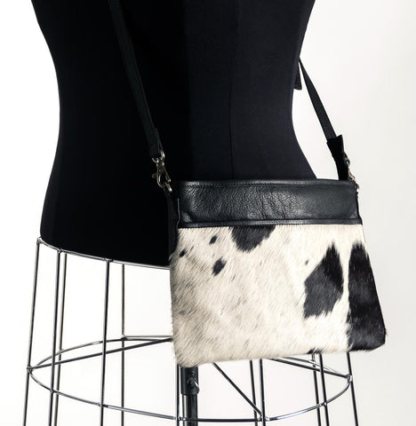 Rosie Essentials Cross-Body Cowhide Handbag - Black & White #7