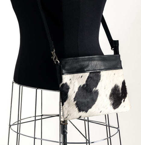 Rosie Essentials Cross-Body Cowhide Handbag - Black & White #9