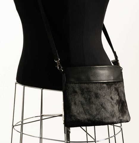 Black Cross-Body Cowhide Handbag