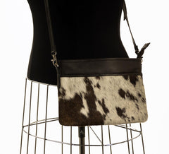 Rosie Essentials Cross-Body Cowhide Handbag - Choc & White #10