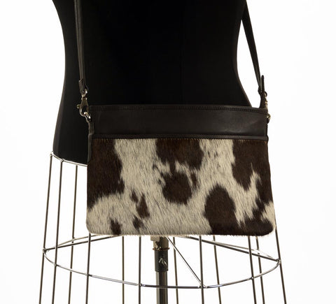 Rosie Essentials Cross-Body Cowhide Handbag - Choc & White #17