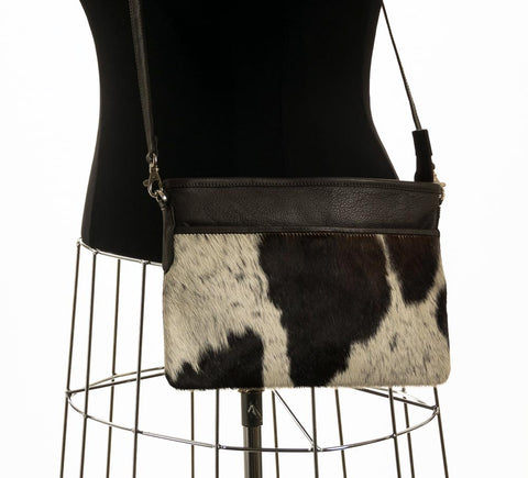 Chocolate & White Cross-Body Cowhide Handbag