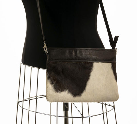 Rosie Essentials Cross-Body Cowhide Handbag - Choc & White #19