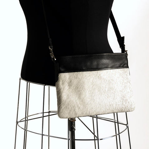 Light Grey Cross-Body Cowhide Handbag